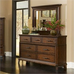 Broyhill Estes Park 7 Drawer Double Dresser and Mirror Set in Oak