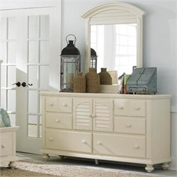 Broyhill Seabrooke Door Dresser and Mirror in Creamy White