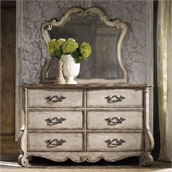 Hooker Chatelet 6 Drawer Dresser with Mirror in Vintage White