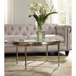 Hooker Highland Park Round Glass Top Coffee Table in Gold