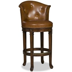 Hooker Manhattan Transitional Stool in Dark Wood