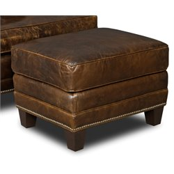 Hooker Covington Parish Leather Ottoman in Dark Wood