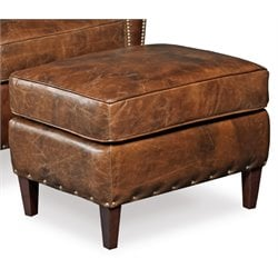 Hooker Imperial Empire Leather Ottoman in Natchez Brown