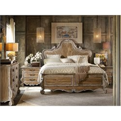 Hooker Chatelet 3 Piece King Wood Panel Bed Set in Light Wood