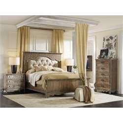 Hooker Chatelet 3 Piece King Upholstered Panel Bedroom Set in Light Wood