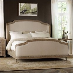 Hooker Furniture Corsica Upholstered Shelter Bedroom Set in Light Wood