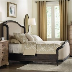 Hooker Furniture Corsica Upholstered Shelter Bedroom Set in Dark Wood