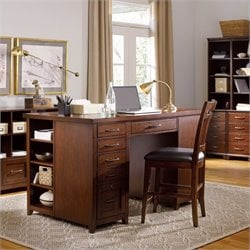 Hooker Furniture Wendover Utility Desk with Drawer and Bookcase Ped