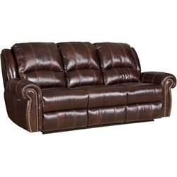 Hooker Furniture Seven Seas Leather Power Sofa in Saddle Brown
