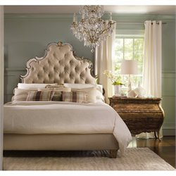 Hooker Furniture Sanctuary 4 Piece Tufted Bed Bedroom Set in Bling
