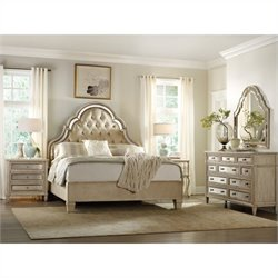 Hooker Furniture Sanctuary 5 Piece Bed Bedroom Set in Pearl Essence