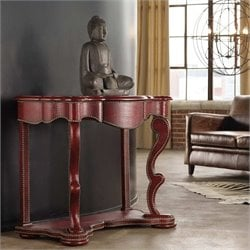 Hooker Melange Red Croc Console Table in Red