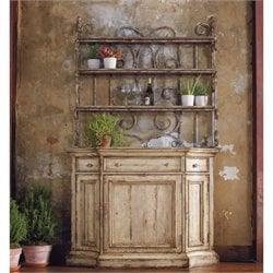 Hooker Furniture Wakefield Three-Drawer Buffet with Hutch in Taupe