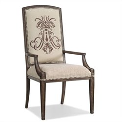 Hooker Furniture Rhapsody Insignia Arm Dining Chair in Rustic Walnut