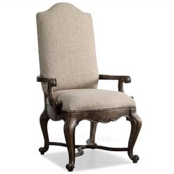 Hooker Furniture Rhapsody Upholstered Arm Dining Chair in Rustic Walnut