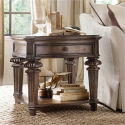 Hooker Furniture Rhapsody 1-Drawer End Table in Rustic Walnut