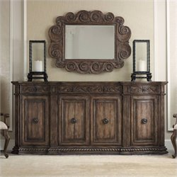 Hooker Furniture Rhapsody 96'' 4-Door Credenza in Rustic Walnut