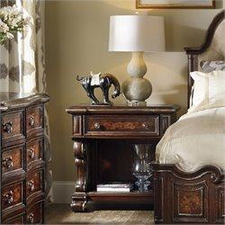 Hooker Furniture Grand Palais 1-Drawer Nightstand in Dark Walnut