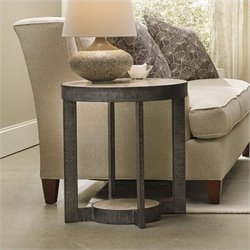 Hooker Furniture Mill Valley Round Marble Top End Table in Travertine with Metal Base
