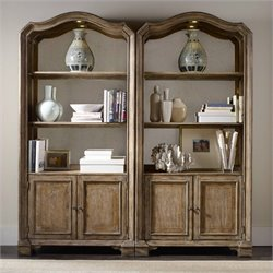 Hooker Furniture Solana 2-Door 3-Shelf Bunching Bookcase in Light Oak
