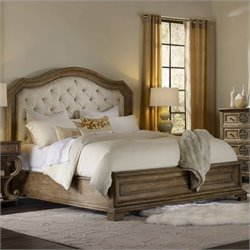 Hooker Furniture Solana Upholstered Panel Bed in Light Oak