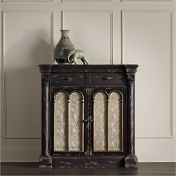 Hooker Furniture Decorative 2-Drawer 2-Door Console Accent Chest in Distressed Ebony