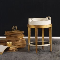 Hooker Furniture Melange Gilded Accent Table in Gold Leaf with Tray