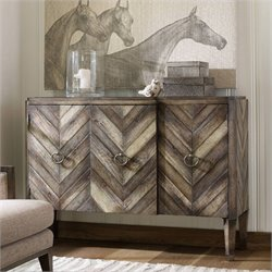 Hooker Furniture Melange 3-Door Chevron Console in Weathered Birch Pine and Oak