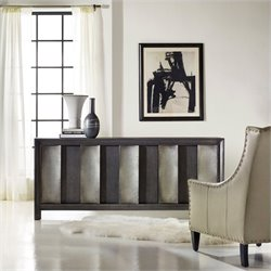 Hooker Furniture Melange 3-Door Channeled Console in Dark Wood and Aluminum