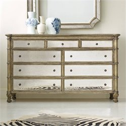 Hooker Furniture Melange 9-Drawer Montage Mirrored Dresser in Champagne