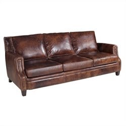 Hooker Furniture Leather Stationary Sofa in Parthenon Temple