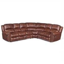 Hooker Furniture 4-Piece Leather Reclining Sectional in Cognac