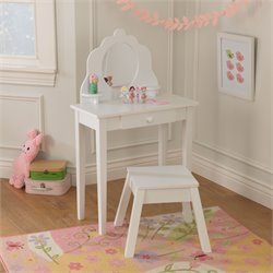 KidKraft Diva Medium Kids Vanity Table and Stool in White