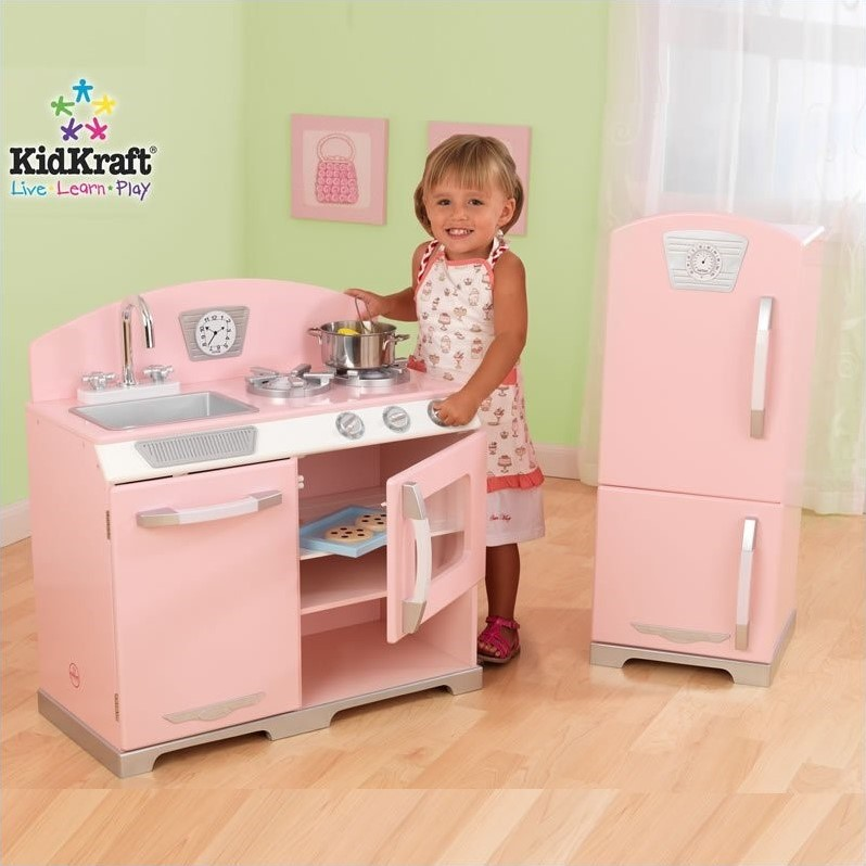 KidKraft Retro Kitchen with Refrigerator in Pink