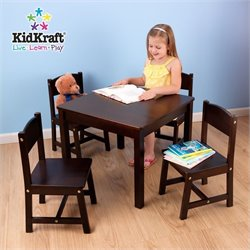 KidKraft Farmhouse Table and Four Chairs in Espresso
