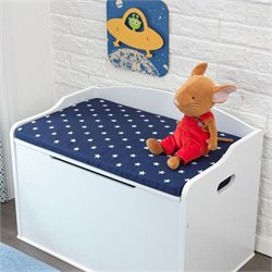 KidKraft Austin Toy Box Cushion in White and Navy