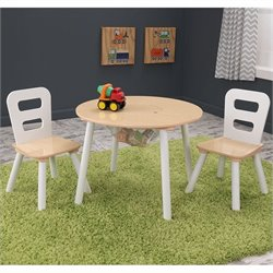 KidKraft Round Table and Chair Set in White and Natural
