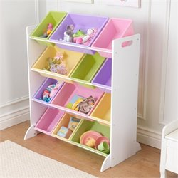 KidKraft Sort It and Store It 12 Bin Unit in White with Pastel Bins