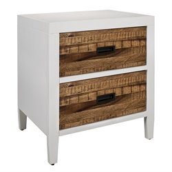 Modus Montana 2 Drawer Nightstand in White Lacquer and Natural Sengon