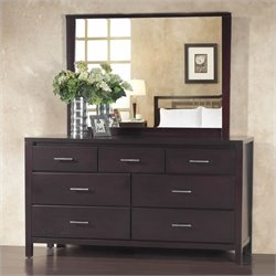 Modus Nevis 7 Drawer Double Dresser and Mirror Set in Espresso