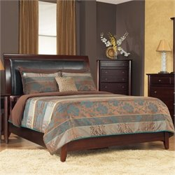 Modus Furniture City II Upholstered Low Profile Sleigh Bed in Coco