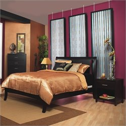 Modus Furniture Nevis Low Profile Wood Sleigh Bed in Espresso Bedroom Set