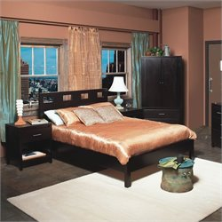 Modus Furniture Nevis Riva Modern 3 Piece Low Profile Platform Bedroom Set in Espresso