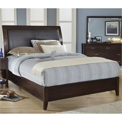 Modus Furniture Urban Loft Upholstered Sleigh Bed in Chocolate Brown