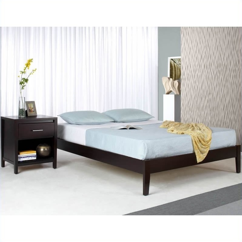 Modus Furniture Nevis Simple Platform Bed in Espresso 2 Piece Bedroom Set