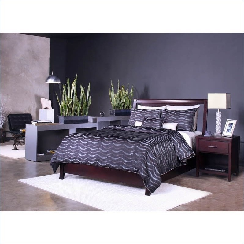 Modus Furniture Nevis Low Profile Storage Bed in Espresso 3 Piece Bedroom Set