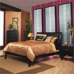 Modus Furniture Nevis Low Profile Sleigh Bed in Espresso Bedroom Set
