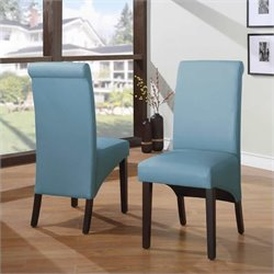 Modus Cosmo Sleigh Back Parson Dining Chair in Sky (Set of 2)