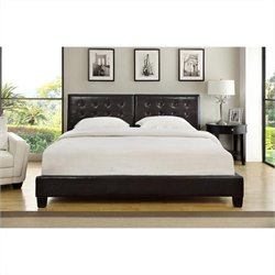 Modus Furniture Ledge Upholstered Tufted Platform Bed in Chocolate