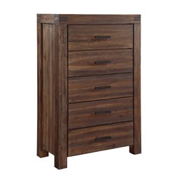 Modus Furniture Meadow 5 Drawer Solid Wood Chest in Brick Brown